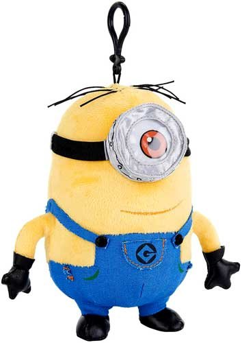 Despicable Me Minions Stuart 7.5 inch Plush Backpack Bag Clip