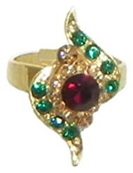 Red And Green Stone Studded Adjustable Ring - Stone And Metal