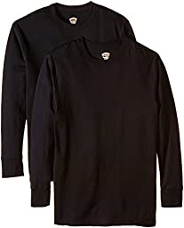 Duofold Men\'s Mid Weight Wicking Thermal Shirt (Pack of 2), Black, X-Large