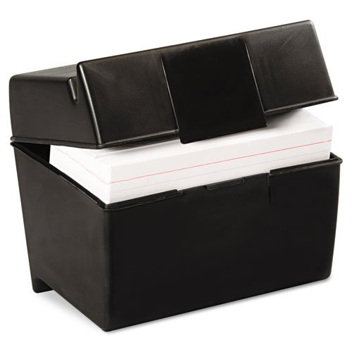 Plastic Index Card Flip Top File Box Holds 500 5 x 8 Cards