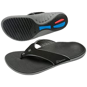 Spenco Polysorb Total Support Yumi Sandals, Black/Pewter, Men's 9