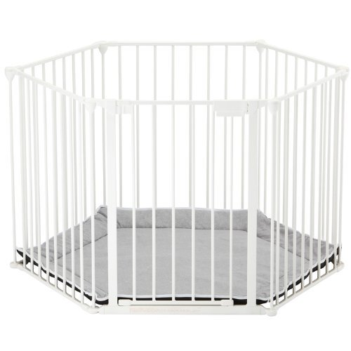BabyDan Babyden White Playpen with Grey Playmat