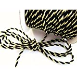 Roll of 25 yards Black/gold 2mm Braided Twist Twine Cord Trim (T116-Black/gold) US Seller Ship Fast