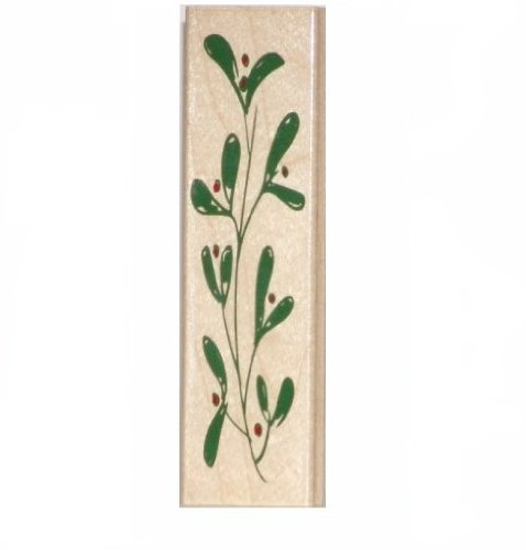 Mistletoe Border Wood Mounted Rubber Stamp (H3667)