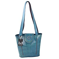 A&E Womens Sling Genuine Leather Kutchi Ethnic Cutwork Classic Blue Color Bags
