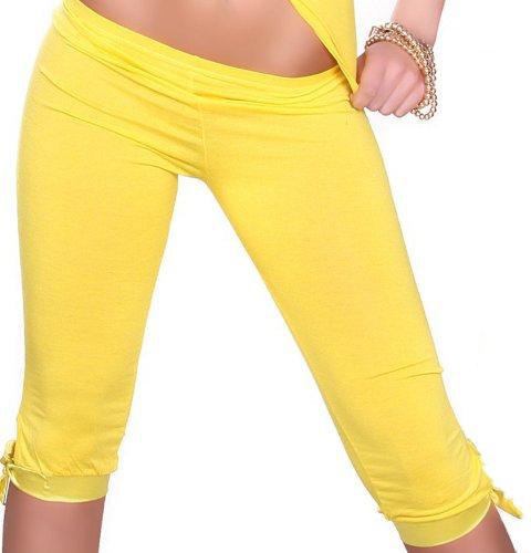 Capri Leggings 3/4 con unità anello di dimensioni 36,38,40,42 diversi colori giallo