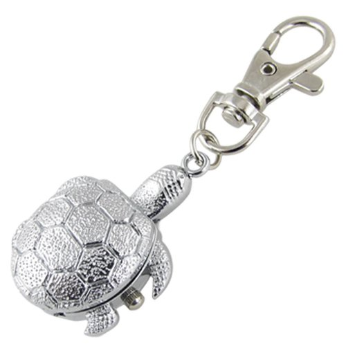 gleader-textured-silver-tone-turtle-pendant-hunter-case-key-ring-watch