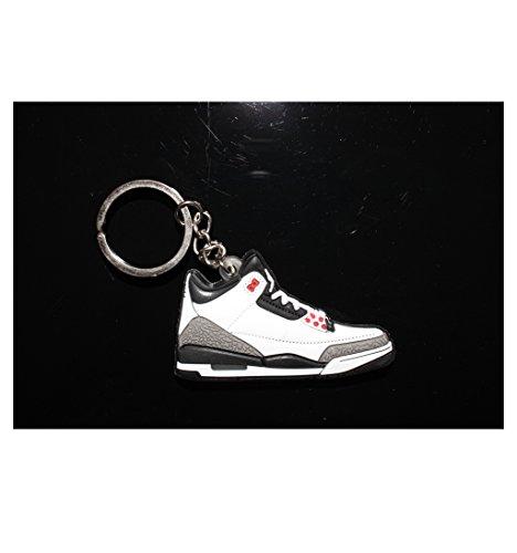 Air Jordan 3 Basketball Jumpman Key Chain in White Black Grey