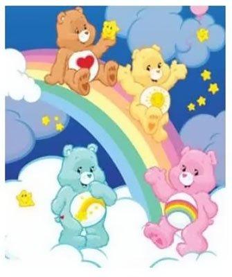 Care Bears Cartoon Rainbow Slide Coral Fleece Throw Blanket front-49659