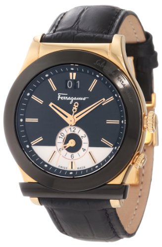 Ferragamo Men's F62LDT5213 S009 1898 Rose Gold Plated Dual Time Black Genuine Leather Watch