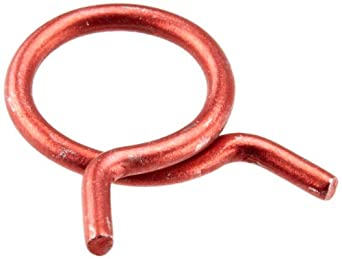 "Rotor Clip HC-8ST R, Steel, Single Wire Hose Clamp, 1/2"" Hose OD, Red (Pack of 100)"