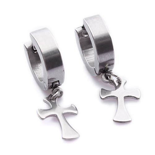Cool Cross Stainless Steel Stud Hoop Mens Earrings