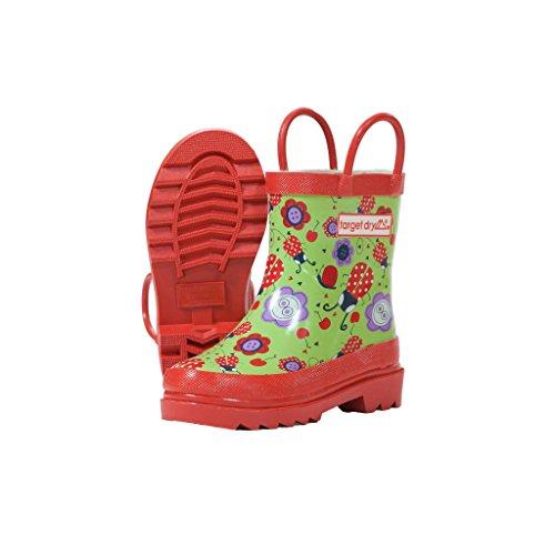 Target Dry - Stivali in gomma fantasia floreale e coccinelle - Bambina (32 EU) (Verde/Rosso)