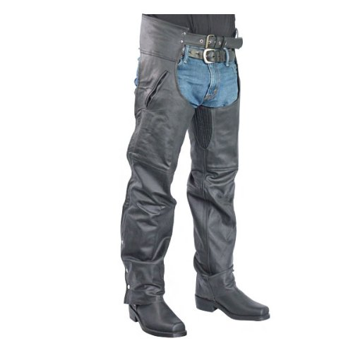Jafrum Pant Style Lined Biker Leather Chaps for Men & Women LC301 XL