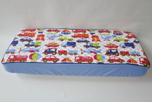 Bacati - Transportation Multicolor Quilted Top Crib Fitted Sheet - 1