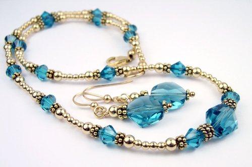 3 Piece Set in Gold - Blue Zircon - December Birthstone 14K Gold Filled Swarovski Crystal Beaded Necklaces Handmade Beaded Necklace, Bracelet and Earrings