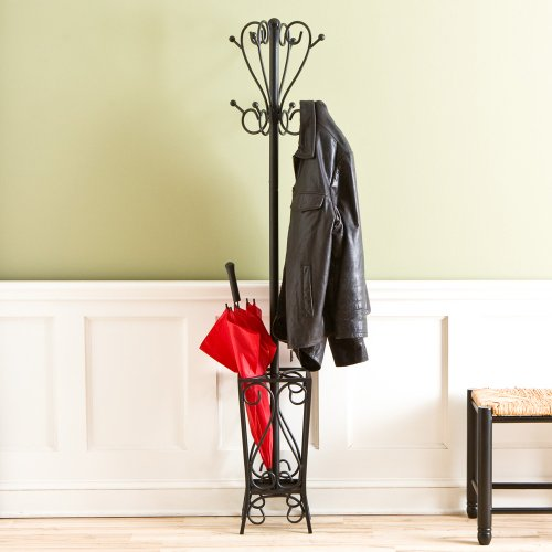 SEI Black Scrolled Metal Coat Rack and Umbrella Stand
