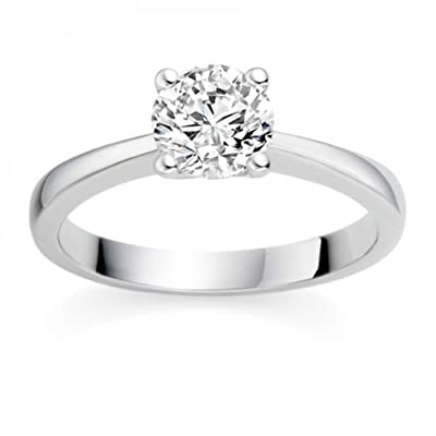 0.35 Carat D/VS1 Round Brilliant Certified Diamond Solitaire Engagement Ring in 18k White Gold