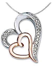 Voylla Sterling Silver Double Heart Pendant With Chain