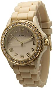 Beige Ceramic Style Silicone Geneva Womens Watch Large Round Face Surrounded with Sparkly Gold Rhinestones