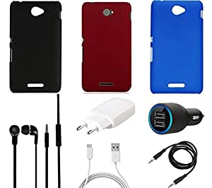 NIROSHA NIROSHA Cover Case Charger Headphone for Sony Experia C908 - Combo