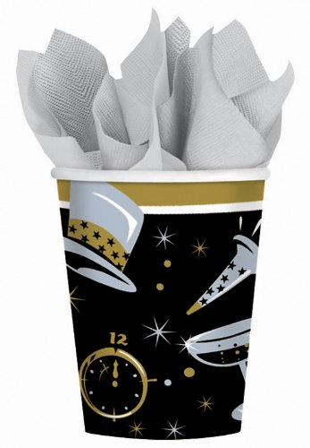New Year's Black Tie Affair - 9 oz. Paper Cups Party Accessory - 1