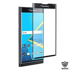MoArmouz® - BlackBerry Priv Screen Protector, 3D Full Cover Super Tempered Glass Screen Protector for BlackBerry Priv Full Body Skin/ Anti-Scratch/Anti-Bubble and Anti-Shock Invisible Shield Mobile Accessories / Screen Protectors (Black 3D)