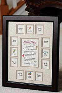 """School Days Years Photo Picture Mat and Frame K-12 - American Made Solid Wood Frame â€"""" 11x14 Cherry Frame, Double Taupe Mat with Apple Verse"""