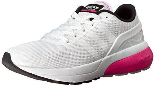 Adidas NEO Women's Cloudfoam Flow W Casual Sneaker,White/White/Shock Pink,7.5 M US
