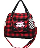 Cute Skull Checked Purse, Shoulder, Tote Hand Bag Red