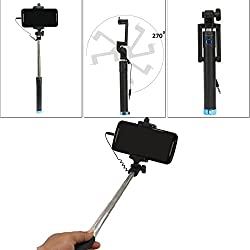 DMG Earldom ZP02 Aux Selfie Stick with Rubber grip for Android Smartphones and iPhones (Multi-colour)