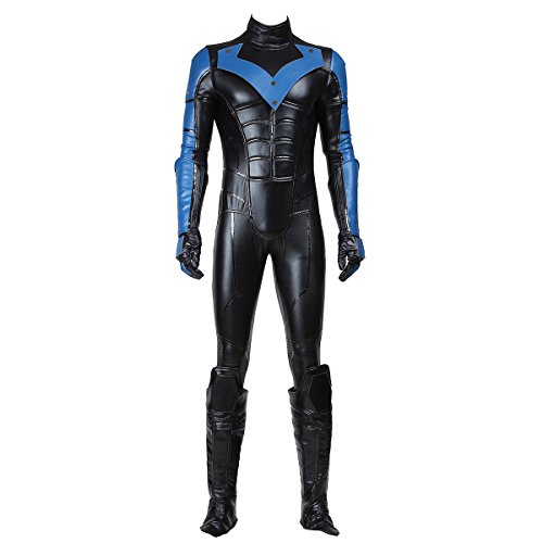 [Manles Men's Batman Arkham City Nightwing Cosplay Costume Large] (Nightwing Halloween Costumes)
