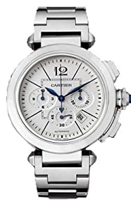 Cartier Men's W31085M7 Pasha Silvered Opaline with Guilloche Inner Square Dial Watch from Cartier
