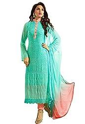 Isha Enterprise Women's Pure Chiffon Dress Material(KFD516-1956_Blue, Peach)