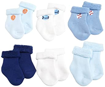 Gerber Baby-Boys Newborn 6 Pack Variety Cozy Socks, Blue/White, 3-6 Months