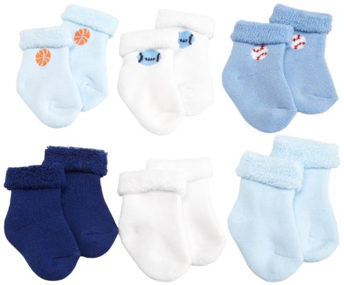 Gerber Baby-Boys Newborn 6 Pack Variety Cozy Socks, Blue/White, 6-9 Months