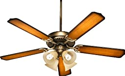 Quorum International 77525-8322 Capri V 52-Inch 4 Light  CFL Ceiling Fan, Antique Flemish Finish with Linen Glass Shades and Reversible Blades