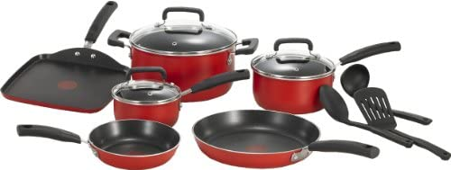 T-fal C112SC Signature Nonstick Expert Thermo-Spot Heat Indicator Cookware Set, 12-Piece, Red