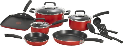 T-fal C112SC Signature Nonstick Expert Thermo-Spot Heat Indicator Dishwasher Safe Cookware Set, 12-Piece, Red (Red Pans And Pots compare prices)