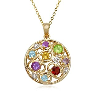 18k Gold Plated Sterling Silver Multi-Gemstone and Diamond Accent Pendant, 18""