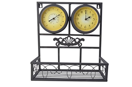 Moonrays 95004 Planter Box with Clock and Thermometer