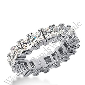 950 Platinum Diamond Eternity Wedding Bands, Prong Setting 7.00 ctw. DEB1814PLT - Size 10