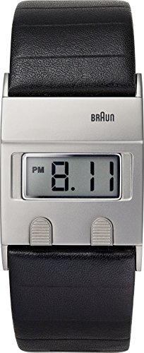 Braun Men's Quartz Watch with LCD Dial Digital Display and Black Leather Strap BN0076SLBKG