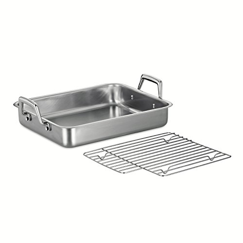 Tramontina 80203/003DS Gourmet Prima 13.5-Inch Rectangular Roasting Pan with Basting Grill, Small, Stainless Steel (Small Grill Pan For Oven compare prices)