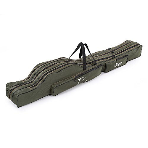 Docooler Portable Folding Fishing Rod Carrier Canvas Fishing Pole Tools Storage Bag Case Fishing Gear Tackle (Fishing Rod And Reel Case compare prices)