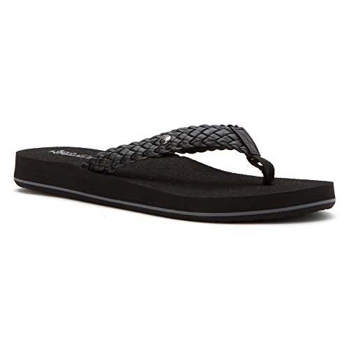 Cobian Women's Braided Bounce Flip Flop, Black, 8 UK/8 M US