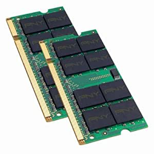 PNY OPTIMA 2GB (2x1GB) Dual Channel Kit DDR2 667 MHz PC2-5300  Notebook / Laptop SODIMM Memory Modules MN2048KD2-667