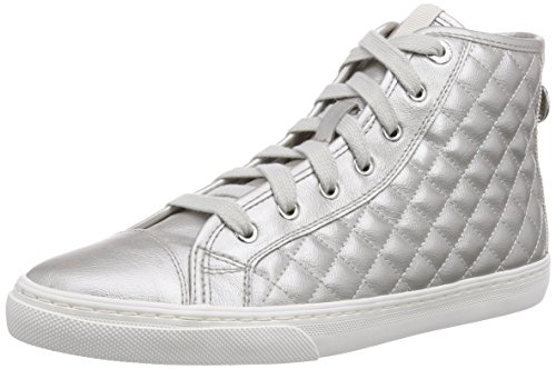 Geox D NEW CLUB A, Sneaker alta donna, Grigio (Grau (Off White)), 37