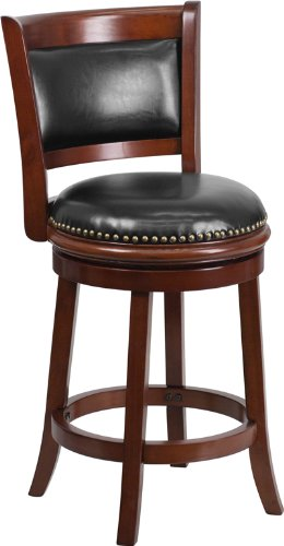 Flash Furniture TA-61024-CHY-CTR-GG Cherry Wood Counter Height Stool with Black Leather Swivel Seat, 24-Inch