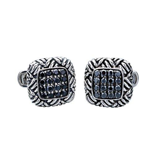 J.Goodman Sterling Silver Black Spinel Basket Weave Cufflinks (J Goodman Cufflinks compare prices)